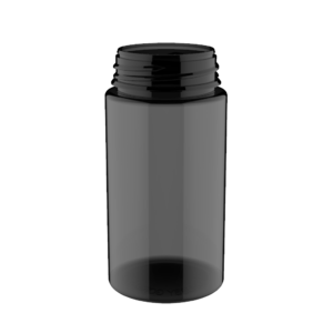 200ML V3 PET UNICORN BOTTLE WITH CRC & TAMPER EVIDENT BREAK-OFF BANDS (TRANSPARENT BLACK BOTTLE WITH SOLID BLACK CAP)