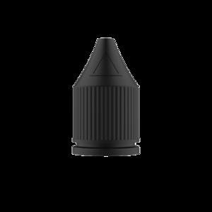 30ML V3 PET UNICORN BOTTLE WITH CRC & TAMPER EVIDENT BREAK-OFF BANDS (CLEAR BOTTLE WITH SOLID BLACK CAP)