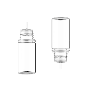 30ML STUBBY PET UNICORN BOTTLE WITH CRC & TAMPER EVIDENT BREAK-OFF BANDS (CLEAR BOTTLE WITH NATURAL CAP)