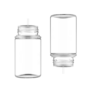 75ML STUBBY PET UNICORN BOTTLE WITH CRC & TAMPER EVIDENT BREAK-OFF BANDS (CLEAR BOTTLE WITH NATURAL CAP)