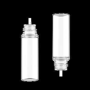 50ML V3 PET UNICORN BOTTLE WITH CRC & TAMPER EVIDENT BREAK-OFF BANDS (CLEAR BOTTLE WITH NATURAL CAP)