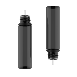 60ML V3 PET UNICORN BOTTLE WITH CRC & TAMPER EVIDENT BREAK-OFF BANDS (TRANSPARENT BLACK BOTTLE WITH SOLID BLACK CAP)