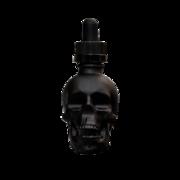 Флакон-капельница череп 30 мл с крышкой и пипеткой (черный матовый)