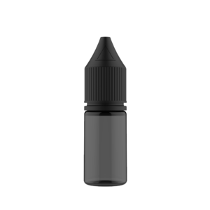 10ML V3 PET UNICORN BOTTLE WITH CRC & TAMPER EVIDENT BREAK-OFF BANDS (TRANSPARENT BLACK BOTTLE WITH SOLID BLACK CAP)