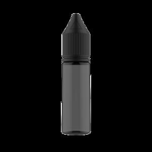 16.5ML V3 PET UNICORN BOTTLE WITH CRC & TAMPER EVIDENT BREAK-OFF BANDS (TRANSPARENT BLACK BOTTLE WITH SOLID BLACK CAP)