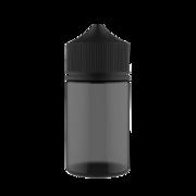 75ML STUBBY PET UNICORN BOTTLE WITH CRC & TAMPER EVIDENT BREAK-OFF BANDS (TRANSPARENT BLACK BOTTLE WITH SOLID BLACK CAP)