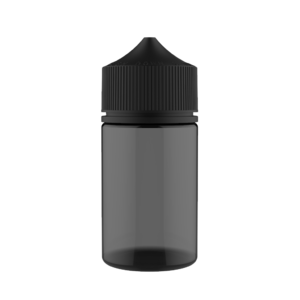 75ML STUBBY PET UNICORN BOTTLE WITH CRC & TAMPER EVIDENT BREAK-OFF BANDS (TRANSPARENT BLACK BOTTLE WITH SOLID BLACK CAP)