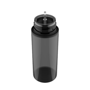 120ML V3 PET UNICORN BOTTLE WITH CRC & TAMPER EVIDENT BREAK-OFF BANDS (TRANSPARENT BLACK BOTTLE WITH SOLID BLACK CAP)