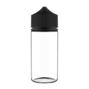 100ML V3 PET UNICORN BOTTLE WITH CRC & TAMPER EVIDENT BREAK-OFF BANDS (CLEAR BOTTLE WITH SOLID BLACK CAP)