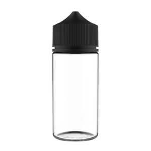 100ML V3 PET UNICORN BOTTLE WITH CRC & TAMPER EVIDENT BREAK-OFF BANDS (CLEAR BOTTLE WITH SOLID BLACK CAP)