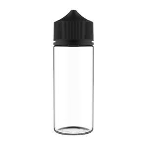 120ML V3 PET UNICORN BOTTLE WITH CRC & TAMPER EVIDENT BREAK-OFF BANDS (CLEAR BOTTLE WITH SOLID BLACK CAP)