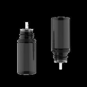 30ML STUBBY PET UNICORN BOTTLE WITH CRC & TAMPER EVIDENT BREAK-OFF BANDS (TRANSPARENT BLACK BOTTLE WITH SOLID BLACK CAP)