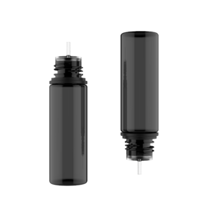 50ML V3 PET UNICORN BOTTLE WITH CRC & TAMPER EVIDENT BREAK-OFF BANDS (TRANSPARENT BLACK BOTTLE WITH SOLID BLACK CAP)