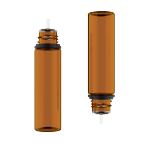 60ML V3 PET UNICORN BOTTLE WITH CRC & TAMPER EVIDENT BREAK-OFF BANDS (TRANSPARENT AMBER BOTTLE WITH SOLID BLACK CAP)