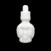 Флакон-капельница череп 30 мл с крышкой и пипеткой (белый матовый)