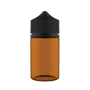 75ML STUBBY PET UNICORN BOTTLE WITH CRC & TAMPER EVIDENT BREAK-OFF BANDS (TRANSPARENT AMBER BOTTLE WITH SOLID BLACK CAP)
