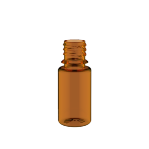 10ML V3 PET UNICORN BOTTLE WITH CRC & TAMPER EVIDENT BREAK-OFF BANDS (TRANSPARENT AMBER BOTTLE WITH SOLID BLACK CAP)