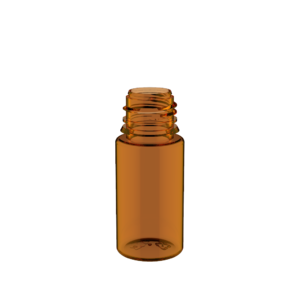 30ML STUBBY PET UNICORN BOTTLE WITH CRC & TAMPER EVIDENT BREAK-OFF BANDS (TRANSPARENT AMBER BOTTLE WITH SOLID BLACK CAP)