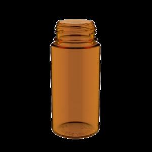 100ML V3 PET UNICORN BOTTLE WITH CRC & TAMPER EVIDENT BREAK-OFF BANDS (TRANSPARENT AMBER BOTTLE WITH SOLID BLACK CAP)