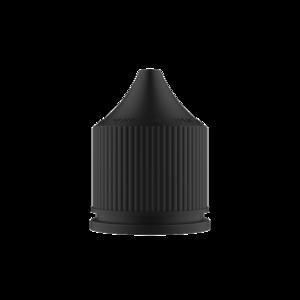 50ML V3 PET UNICORN BOTTLE WITH CRC & TAMPER EVIDENT BREAK-OFF BANDS (TRANSPARENT AMBER BOTTLE WITH SOLID BLACK CAP)