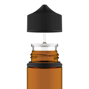 120ML V3 PET UNICORN BOTTLE WITH CRC & TAMPER EVIDENT BREAK-OFF BANDS (TRANSPARENT AMBER BOTTLE WITH SOLID BLACK CAP)
