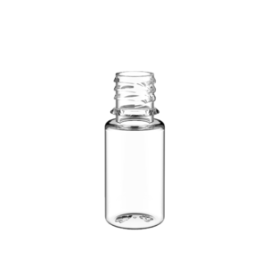 10ML V3 PET UNICORN BOTTLE WITH CRC & TAMPER EVIDENT BREAK-OFF BANDS (CLEAR BOTTLE WITH SOLID BLACK CAP)