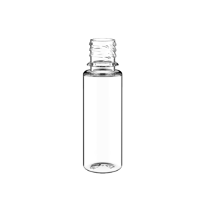 16.5ML V3 PET UNICORN BOTTLE WITH CRC & TAMPER EVIDENT BREAK-OFF BANDS (CLEAR BOTTLE WITH SOLID BLACK CAP)