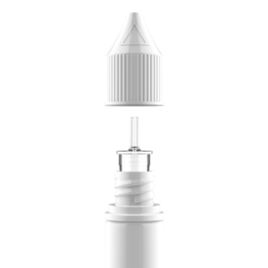 10ML V3 PET UNICORN BOTTLE WITH CRC & TAMPER EVIDENT BREAK-OFF BANDS (SOLID WHITE BOTTLE WITH SOLID WHITE CAP)