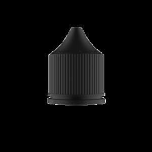 60ML V3 PET UNICORN BOTTLE WITH CRC & TAMPER EVIDENT BREAK-OFF BANDS (CLEAR BOTTLE WITH SOLID BLACK CAP)