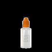 Флакон пластик 50 мл (прозрачный, оранжевая крышка)
