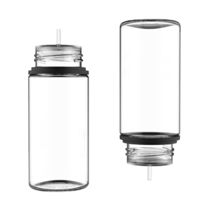 75ML STUBBY PET UNICORN BOTTLE WITH CRC & TAMPER EVIDENT BREAK-OFF BANDS (CLEAR BOTTLE WITH SOLID BLACK CAP)
