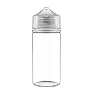 100ML V3 PET UNICORN BOTTLE WITH CRC & TAMPER EVIDENT BREAK-OFF BANDS (CLEAR BOTTLE WITH NATURAL CAP)
