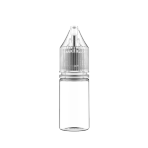 10ML V3 PET UNICORN BOTTLE WITH CRC & TAMPER EVIDENT BREAK-OFF BANDS (CLEAR BOTTLE WITH NATURAL CAP)