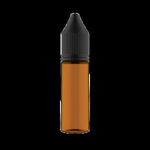 16.5ML V3 PET UNICORN BOTTLE WITH CRC & TAMPER EVIDENT BREAK-OFF BANDS (TRANSPARENT AMBER BOTTLE WITH SOLID BLACK CAP)