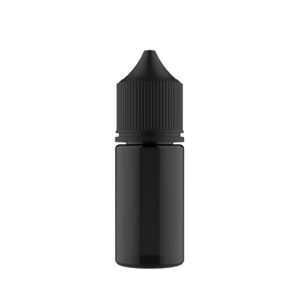 30ML STUBBY PET UNICORN BOTTLE WITH CRC & TAMPER EVIDENT BREAK-OFF BANDS (TRANSPARENT BLACK BOTTLE WITH SOLID BLACK CAP)