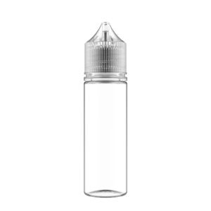50ML V3 PET UNICORN BOTTLE WITH CRC & TAMPER EVIDENT BREAK-OFF BANDS (CLEAR BOTTLE WITH NATURAL CAP)